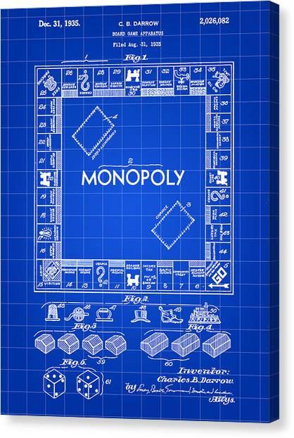 Monopoly Patent 1935 - Blue Canvas Print