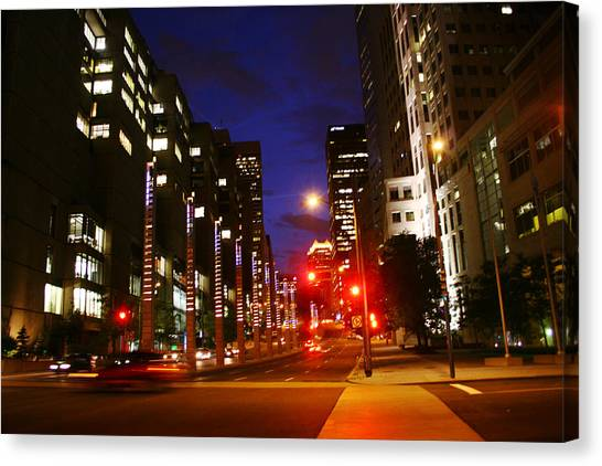 Montreal By Night Canvas Print by Isabel Poulin