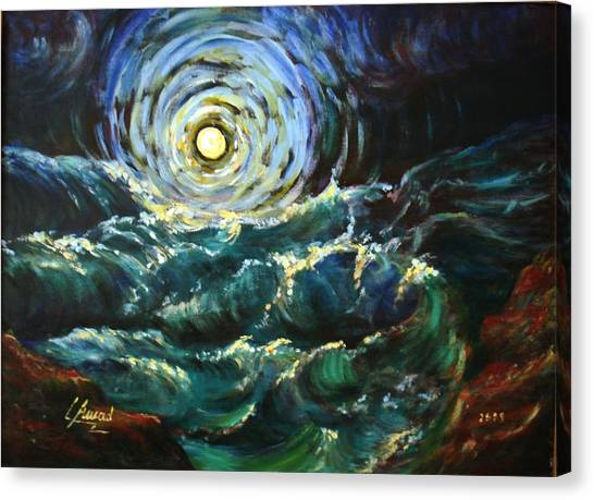 Moon And Waves Canvas Print
