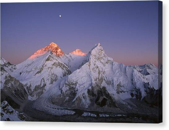 Mount Everest Canvas Print - Moon Over Mount Everest Summit by Grant  Dixon