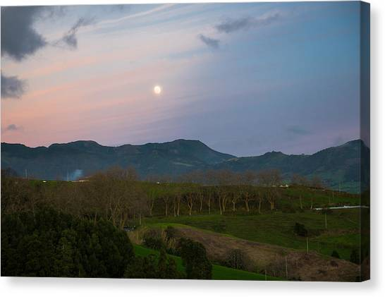 Moon Over The Hills Of Povoacao Canvas Print