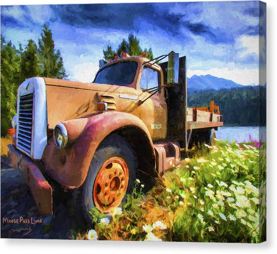Rusty Truck Canvas Print - Moose Pass Limo by David Wagner