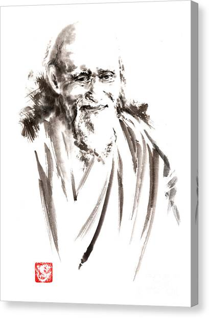 Kung Fu Canvas Print - Morihei Ueshiba Sensei Aikido Martial Arts Japan Japanese Master Sum-e Portrait Founder by Mariusz Szmerdt