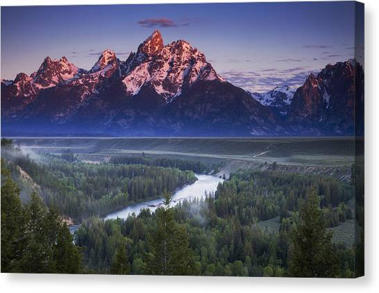 Mountain Sunrises Canvas Print - Morning Glow by Andrew Soundarajan