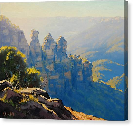 Neck Canvas Print - Morning Light Three Sisters by Graham Gercken