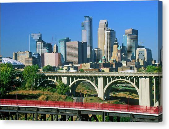 Minnesota Twins Canvas Print - Morning View Of Minneapolis, Mn Skyline by Panoramic Images