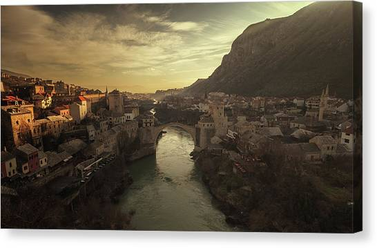 Historic House Canvas Print - Mostar by Bez Dan