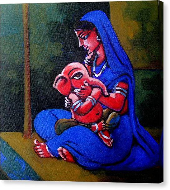 Mother And Child. Canvas Print by Abhijit Banerjee