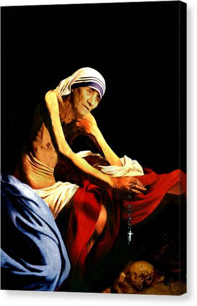 Mother Teresa Seated Nude Canvas Print
