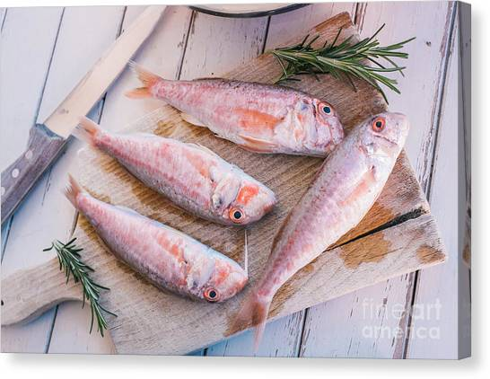 Cooking Canvas Print - Mullet Fish And Rosemary  by Viktor Pravdica