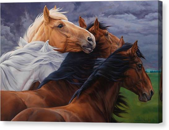 Horse Farms Canvas Print - Mutual Support by JQ Licensing