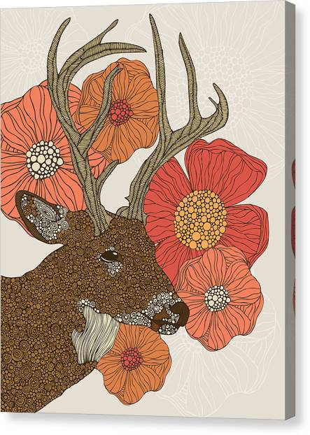 Flower Canvas Print - My Dear Deer by Valentina Ramos