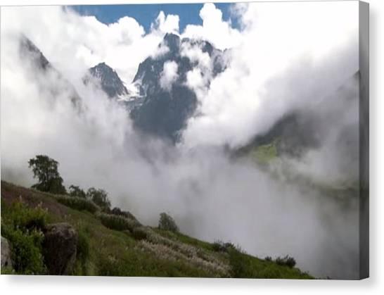 Hoodie Canvas Print - Nanda Devi Peaks On Mount Himalaya North India  by Navin Joshi
