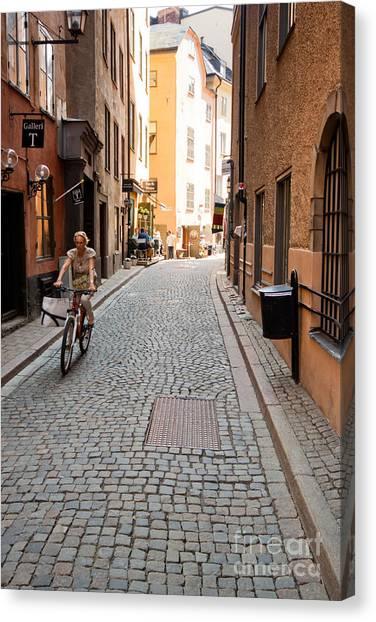Narrow Stockholm Street Sweden Canvas Print