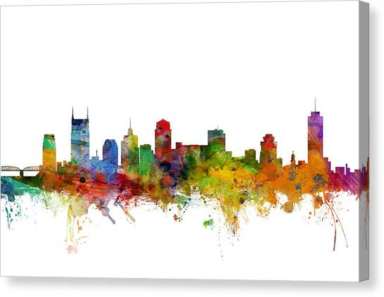 Nashville Canvas Print - Nashville Tennessee Skyline by Michael Tompsett