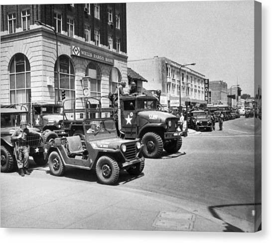 National Guard Canvas Print - National Guard In Berkeley by Underwood Archives Thornton