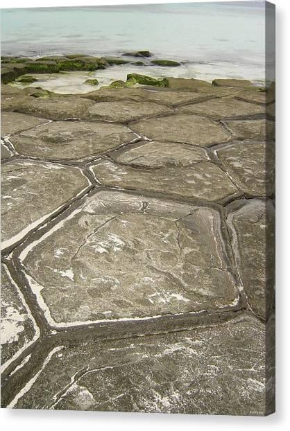 Natural Forming Pentagon Rock Formations Of Kumejima Okinawa Japan Canvas Print