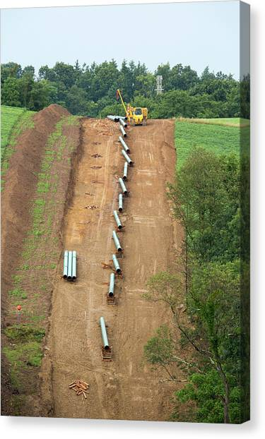 Fracking Canvas Print - Natural Gas Pipeline Construction by Jim West