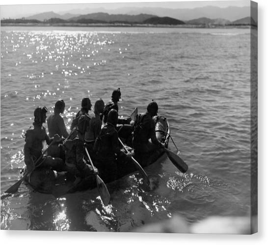 Navy Seal Canvas Print - Navy Frogmen At Work by Underwood Archives