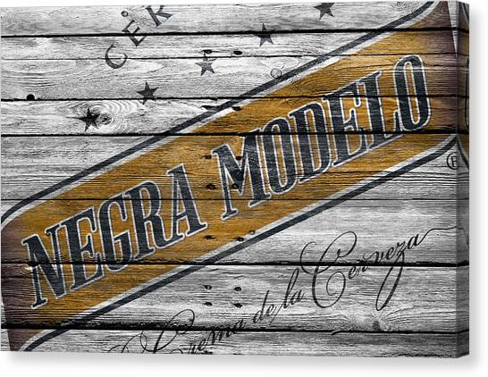 Beer Can Canvas Print - Negra Modelo by Joe Hamilton