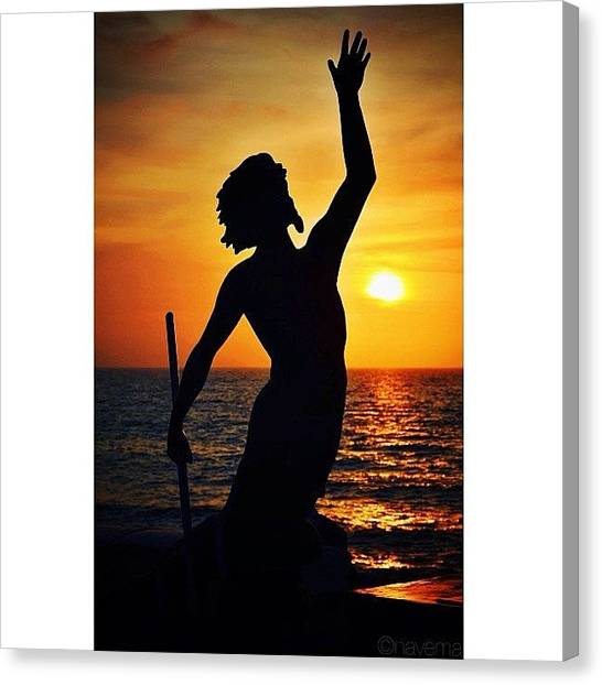 Mermaids Canvas Print - Neptune At Dusk by Natasha Marco