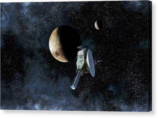 Pluto Canvas Print - New Horizons At Closest Approach To Pluto by Take 27 Ltd