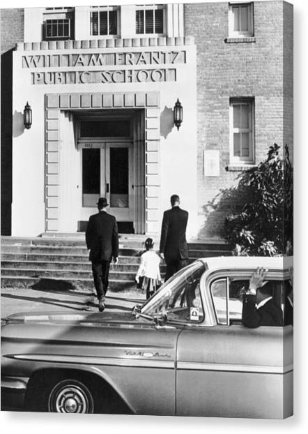 Racism Canvas Print - New Orleans School Integration by Underwood Archives