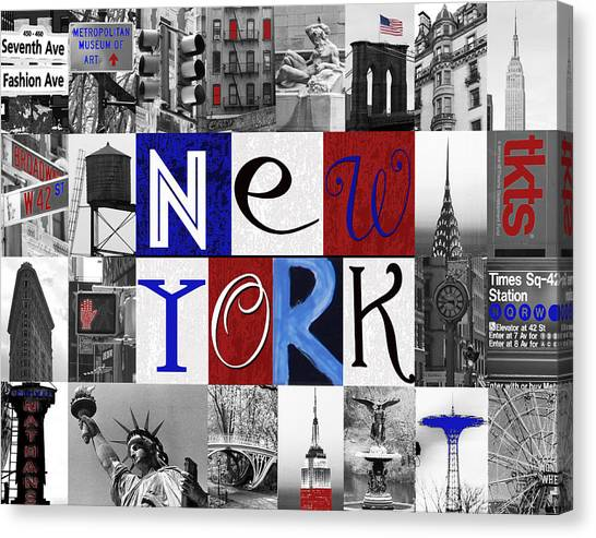 The Metropolitan Museum Of Art Canvas Print - New York Collage II by Marilu Windvand