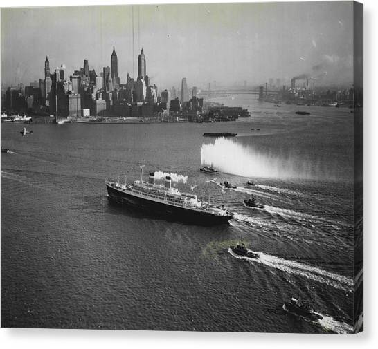 Cruise Ships Canvas Print - New York Gala Welcome by Retro Images Archive