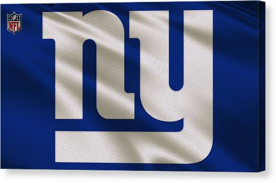 New York Giants Canvas Print - New York Giants Uniform by Joe Hamilton