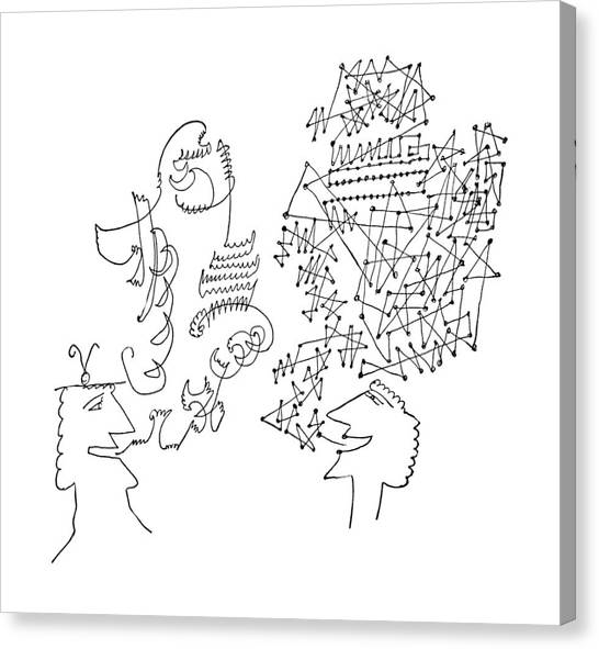 Sculptors Canvas Print - New Yorker June 1st, 1957 by Saul Steinberg