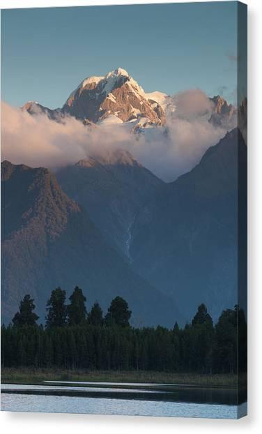 Fox Glacier Canvas Print - New Zealand, South Island, Lake by Walter Bibikow
