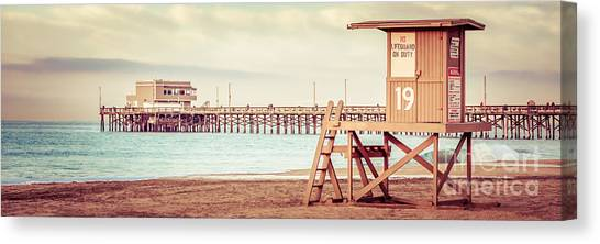 Tower Canvas Print - Newport Pier And Lifeguard Tower 19 Vintage Picture by Paul Velgos