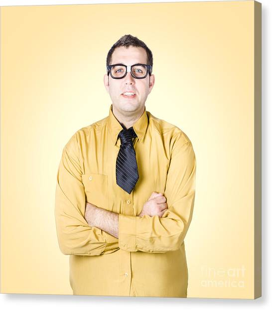Normal Canvas Print - Nice Nerd Business Salesman On Yellow Background by Jorgo Photography - Wall Art Gallery