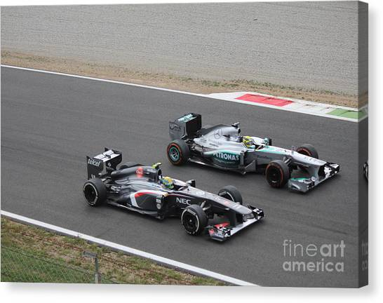 Nico Rosberg And Esteban Gutierrez Canvas Print