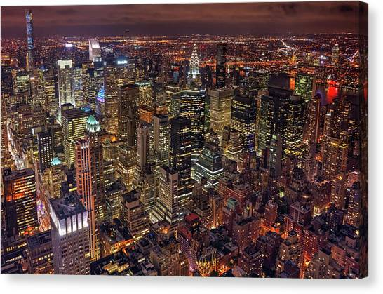 Chrysler Building Canvas Print - Night Life by Milton Mpounas