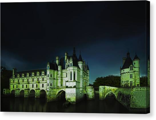 Chenonceau Castle Canvas Print - Night Lights by Midori Chan