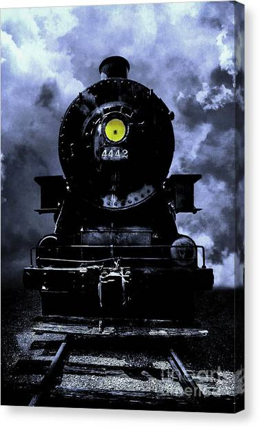 Bullet Trains Canvas Print - Night Train Essex Valley Railroad by Edward Fielding