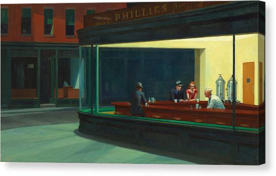 Big Red Canvas Print - Nighthawks by Edward Hopper