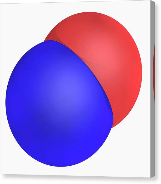 Nitrogen Monoxide Molecule Canvas Print by Laguna Design/science Photo Library