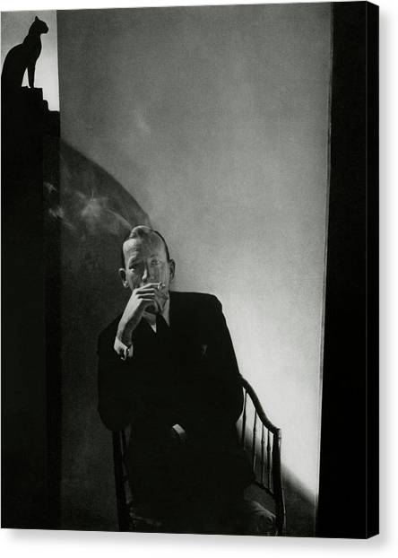 Noel Coward Smoking Canvas Print