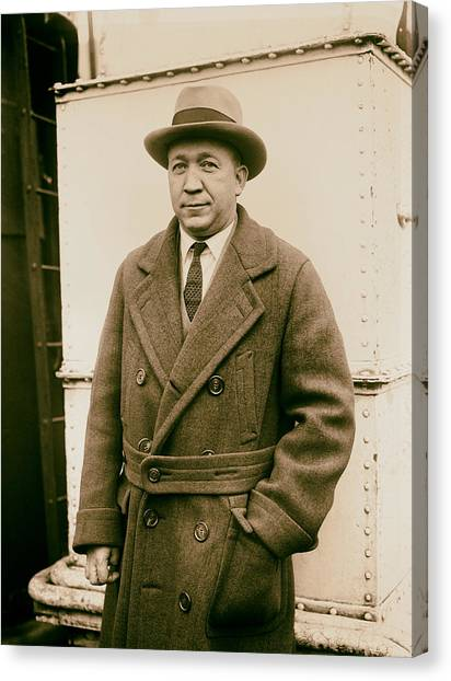 Analog Canvas Print - Notre Dame's Legendary Head Coach Knute Rockne On A Ship's Deck -1920s by Mountain Dreams