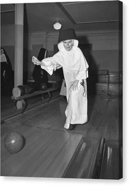Bowling Ball Canvas Print - Nuns Bowling by Underwood Archives