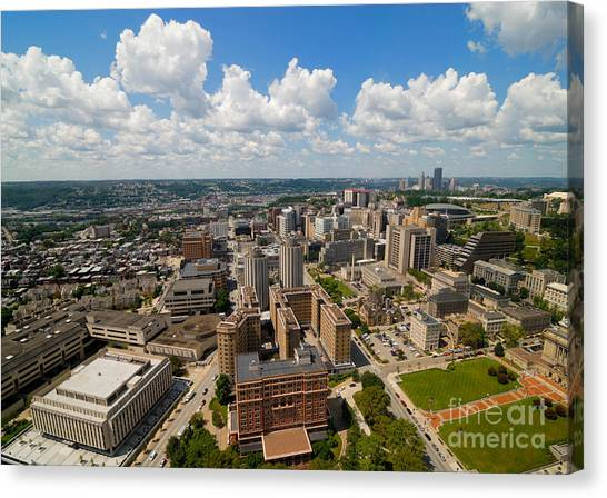 Oakland University Canvas Print - Oakland Pitt Campus With City Of Pittsburgh In The Distance by Amy Cicconi