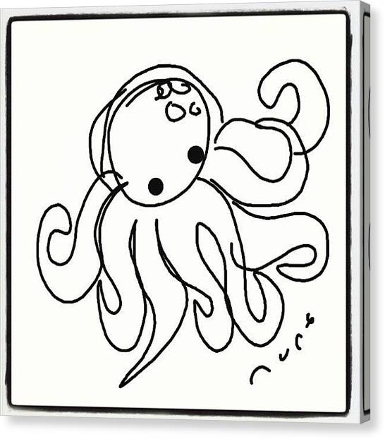 Octopus Canvas Print - #octopus #cartoon #caricatures #sketch by Nuno Marques