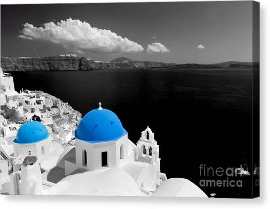 Oia Town On Santorini Island Greece Blue Dome Church Black And White. Canvas Print