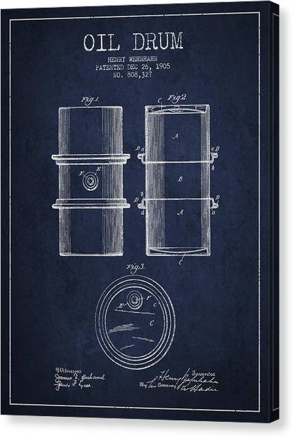 Drums Canvas Print - Oil Drum Patent Drawing From 1905 by Aged Pixel