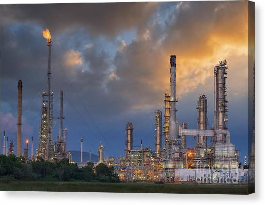 Oil Refinery Along Twilight Sky Canvas Print