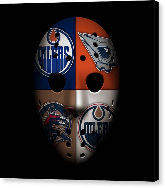 Edmonton Oilers Canvas Print - Oilers Goalie Mask by Joe Hamilton