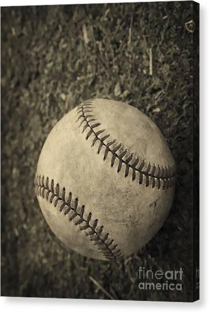 Field Canvas Print - Old Baseball by Edward Fielding